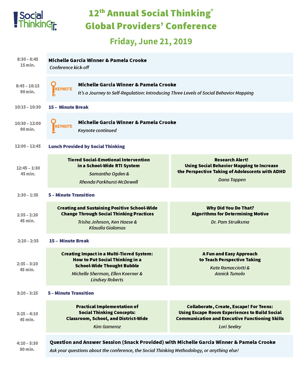 Social Thinking Providers Conference Friday, June 21st 2019 Schedule
