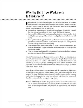 Socialthinking Social Thinking Thinksheets For Tweens And Teens